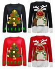 Womens Ladies Xmas 3d Rudolph Tree Christmas Jumper Top With Led Flashing Lights