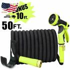 50 or 100 ft Expandable Garden Hose Bonus 10 feet with Solid Brass Fittings New