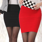 Wome High Waist Stretch Sexy Bodycon Mini Skirt Pleated Short Pencil Dress US