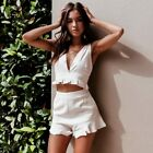 Women 2Pcs Sexy White Cotton High Waist Short V-neck Tube Top Set Ruffled Top
