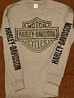 Harley Davidson Gray Long Sleeve T-Shirt with Black Bar & Shield image