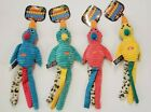Tropical Corduroy Birds Squeaking Dog Toys In 4 Colors Set of 2