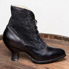 Victorian Retro Women Pointed Toe Lace Ankle Boots Kitten Heel Dress Party Shoes