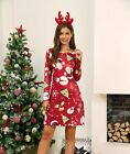 Womens Christmas Midi Swing Jumper Dress Ladies Long Sleeve Xmas Skater Dresses