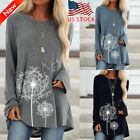 Women Long Sleeve Round Neck T-shirt Dandelion Printed Tops Loose Casual Tops US