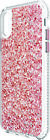 Iphone X/Xs Pretty Silver/Pink Glitter / Stripes Protective Case by Fellowes NEW
