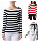 Fashion Women Striped Tops Lady Casual T-Shirts Long Sleeve Crew Neck Blouse Tee