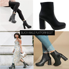 Black Platform Ankle Boots Chunky Block Heel
