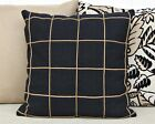 Custom Black and Taupe Corded Canvas Pillow Cover, 6 Sizes, Inserts Available