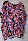 Orange and Purple Floral Knit Blouse T Shirt Top Size 5X 34/36W by Catherines Bl