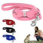 Seude Leather Dog Leash Small Medium Dog Walking Lead Bling Rhinestone Bowknot