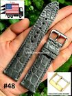 Gray Genuine Crocodile Alligator Skin Leather Watch Strap Band 20mm 22mm 24mm image