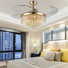 """42"""" Ceiling Fan Light Crystal Retractable Acrylic Blade LED Lamp Remote Control"""