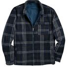 Men's Victory Rugged Wear Reversible Poly Flannel Jacket Blue Multi Size L or XL