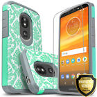 For Moto G6/ Play/ Forge Case Cover Dual Layer + Tempered Glass Screen Protector