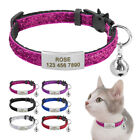 Glitter Sequins Quick Release Cat Collar Personalized Slide on Nameplate  Bell