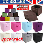Foldable Fabric Storage Boxes Cube Drawer Organizer Baskets Bins Containers Grey