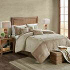 Chic 7pc Textured Shades of Tan Microsuede Comforter Set AND Decorative Pillows image