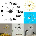 Fashion DIY Modern Large Wall Clock 3D Mirror Surface Sticker Home Office Decor
