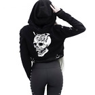 Women Gothic Cropped Skull Print Black Loose Hoodie Sweater Sweatshirt