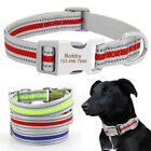 Reflective Durable Nylon Dog Collar Personalised ID Engraved for Small Large Dog