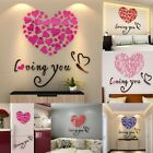 Love Hearts Arcylic Wall Stickers Decal Home Living Room Decor Valentine's Day