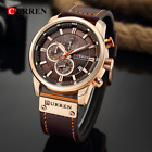 CURREN Top Brand Casual Sport Watches for Men Blue Luxury Military Leather Wrist image