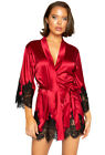 Roma red satin eyelash lace lingerie robe