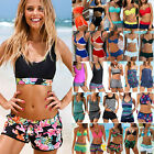 Womens Padded Tankini Set with Boy Shorts Beach Bikini Swimsuit Swimwear Bathing