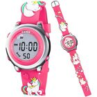 Kids Digital Watch For Girl Cute 3D Unicorn Silicone Strap Toddler Birthday Gift image