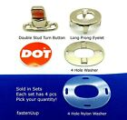 DOT Common Sense Twist Turn Button Fasteners - Double Stud 8MM 4 Hole & Long  image