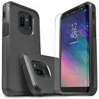 For Samsung Galaxy A6 Case, Dual Layer Shockproof +Tempered Glass Protector