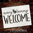 Every Bunny Welcome Stencil by StudioR12 | DIY Fun Cursive Spring Home Decor