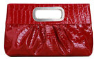 Chicastic Oversized Glossy Vegan Leather Casual Evening Clutch Purse Metal Grip