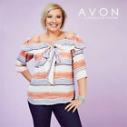 Avon Ladies Womens Printed Striped Off The Shoulder Bow Top Size 10 12 14 16