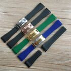 20mm Curved End Rubber Watch Strap Band  Clasp Suits Submariner Daytona GMT