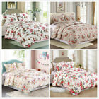 3 Pieces Microfiber Reversible Queen/King Quilt Set with Shams, Floral Print image