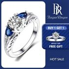 Classic Genuine Blue White Topaz Gemstone Sterling Silver Ring Size 6-10