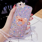 Bling Crystal Diamond With Strap Glitter Ring Stand TPU Case Fr iPhone /Motorola