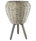 Willow Plant Pot With Legs Drum Planter Stand Flower Display Decor Garden Home