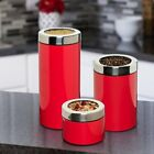 Retro 3 PIECE KITCHEN CANISTER SET RED or WHITE