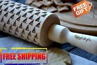 EMBOSSING WOODEN ROLLING PIN 4 SIZE NICE CHRISTMAS TREES MODERN ENGRAVED PATTERN