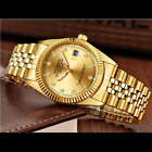 Men's Watch Relojes De Hombre Gold Stainless Steel Quartz Classic Small Dial image