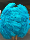 "turquoise XL 2 layers Ostrich Feather Fan 34"" x 60"" with leather Travel Bag"