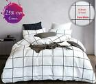 Karever White Plaid Duvet Cover Set Grid Check Bedding Set White And Black 100%