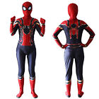 Kid Adult Spiderman Superhero Cosplay Costume Miles Morales Jumpsuit Fancy Party