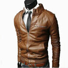Men PU Leather Jacket BLACK & BROWN Slim Fit Biker Jacket Fashion Solid Coat UK