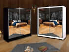Double Mirror Sliding Door Queen Wardrobe with LED Available TWO Size TWO Color