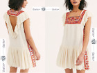 FREE PEOPLE  LARGE  Day Glow Embroidered Mini Dress White Sand NewWTags