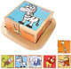 Babe Rock Wooden Block Puzzles Toys Toddler Six Sides Painting Pattern Jigsaw